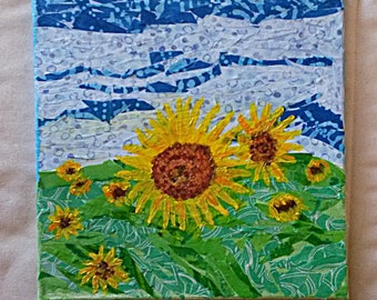 Sunflowers Mixed Media Collage on 10 x 10 Canvas
