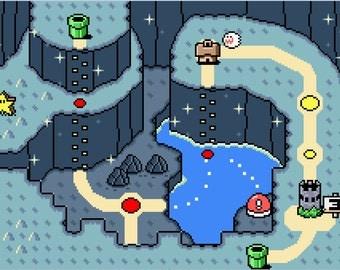 Super Mario World Vanilla Dome Map -- Cross Stitch Pattern!