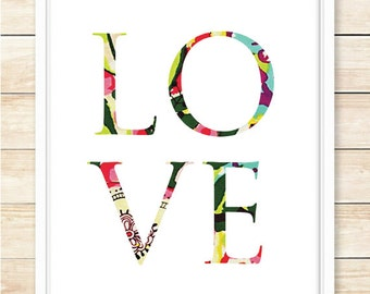 Love Print, Typography Poster, Printable Wall Art, Office Decor, Anniversary, Home Decor, Wedding Gift, Love, Couple, Pattern, coffeeandcoco