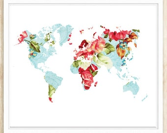 Large Floral World Map Poster, World Map Print, 16x20 and 11x14, Printable Wall Art, World Map Printable, Instant Download, coffeeandcoco