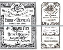 Vintage French Perfume Labels Victorian Graphics Clipart - 2 Tags Set - Antique Printable Graphics Clipart - Instant Digital Download Image.