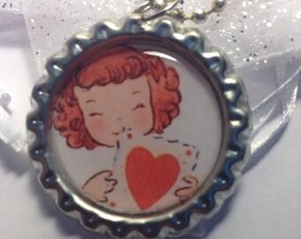 Valentines Bottle cap necklace - Bottle cap jewelry - Valentines day jewelry  - Valentine necklace
