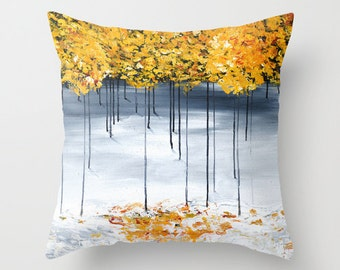 Gray Yellow Pillow, Tree Pillow, Decorative Pillow Covers, Cushions, Accent Pillow, Art Pillow Unique Pillows Sofa Pillows Gray Throw Pillow