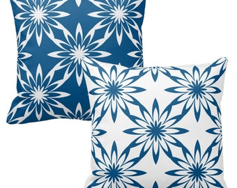 Navy Blue Pillows, Blue White Pillow, Geometric Pillow, Navy White Pillows, Decorative Throw Pillow Covers, Sofa Pillows, Blue Cushions