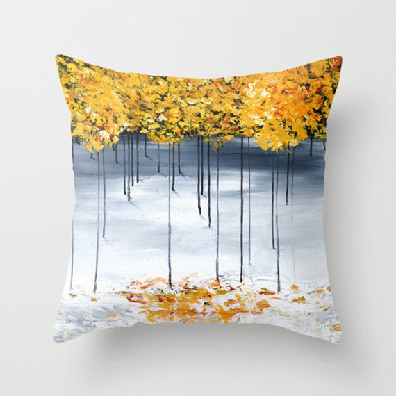 Unique Decorative Accent Pillows : Gray Yellow Pillow Tree Pillow Decorative Pillow Covers