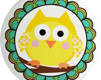 Yellow Owl Ceramic Drawer Knob or Pull for Furniture and Cabinets