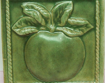 Pottery Tile Raised Apple Wall Accent
