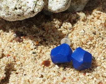 Geometric earrings-geometric nugget earrings-Beach earrings-electric blue-handmade earrings-Valentine's Day gift