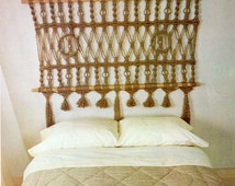 "Macrame Headboard For Bed Pattern Vintage Fringe Macrame Jute Cord Rope Wall Hanging Headboard 63"" x 30"" PDF Instant Download"