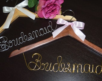 """Set of 2 Bridal Hangers""""BRIDESMAID """" 1 LINE for your wedding pictures,Personalized custom bridal hanger,Wedding hanger,Bridesmaid hanger,"""