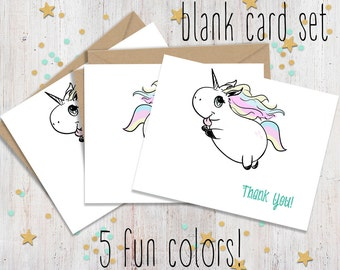 Unicorn Party, Unicorn Thank you, Thank you Notes, Thank you Set, Rainbow Unicorn Cards, Unicorn Party Cards, Thank you Cards, Unicorn Cards