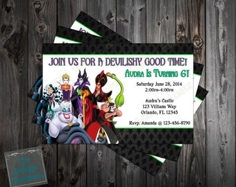 Disney Villains Birthday Party Invitation Printable