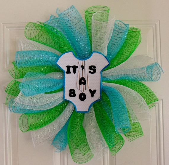 Items similar to boy baby shower wreath welcome baby for Baby boy door decoration