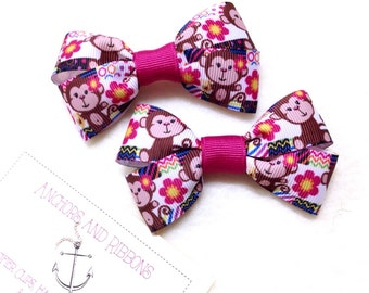 Funky Monkey - Set of TWO Hair Bows / Barrettes / Clips!