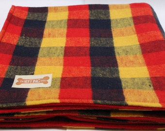 Soft Mustard Checked Dog Blanket