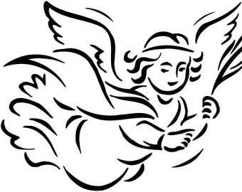 Flying Angel machine embroidery design for 5 x 7 hoop
