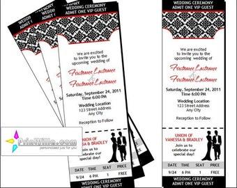 Black & White Wedding Ticket Invitations, Set of 12