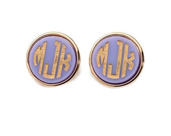Custom Monogram Post Earrings Preppy Glam Classic