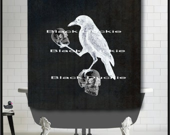 Crow holding Skulls on Chalkboard Shower Curtain - Nevermore art surreal odd skull crow raven shower curtain