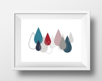 Modern Art Print, Floating Drops, Graphic Wall Art, Instant Download, Wall Decor, Wall Art, Printable Art, Poster, Handmade