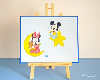 Baby Mickey and Minnie Mouse Canvas, Disney Canvas, Handmade Painting for Kids Rooms or Playrooms, Art for Children, 25x30cm