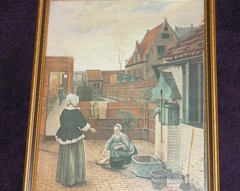 Vintage Pieter De Hooch framed picture, 'The Courtyard', wood frame.