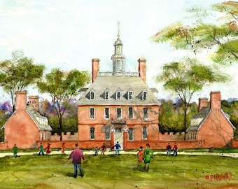 """11""""x14"""" Giclee of Original Watercolor, Governors Palace, historic Williamsburg, Virginia"""