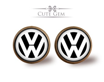 SUPER SALE - Volkswagen - Antique Bronze Glass Stud Earrings