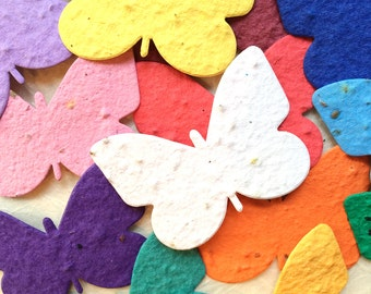 20-200 Plantable Seed Paper Butterflies - Butterfly Seed Memorials Favor - Wedding Favors - Flower Seed Place Cards
