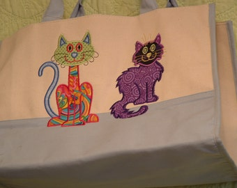 Embroidered Tote Bag - Crazy Cats **ON SALE**