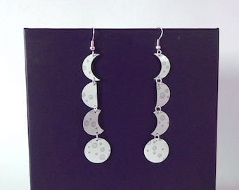 Lunar Eclipse Dangle Earrings - made from an upcycled drinks can