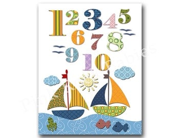 Nursery numbers poster wall art for nursery numbers print nautical nursery wall decor baby boy room  decor playroom decor kids room wall art