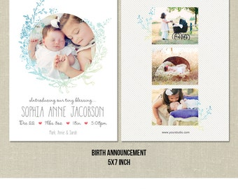 Birth Announcement PSD Template Photo Card_TINY BLESSING