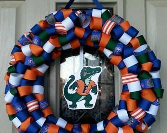 Show your Gator pride! Florida football ribbon wreath, Florida Gators, Gators wreath, University of Florida wreath, college wreath, football