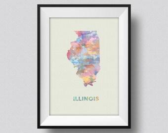 Illinois Watercolor Map USA Art Print Illinois Ink Splash Map Poster Art Canvas