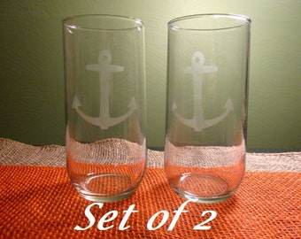 2 Anchor Etched Tumblers, 15 oz each, CUSTOMIZABLE