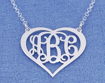"""Sterling Silver Personalized 3 Initials Heart Monogram Necklace Fine Jewelry 1"""" Wide SM56C"""