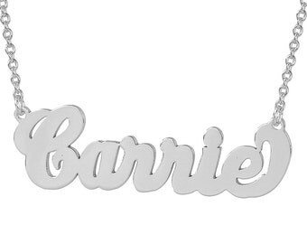 Sterling Silver Personalized Carrie Name Necklace Fine Laser Cut Jewelry SN11