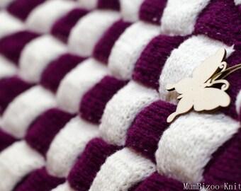 Knit blanket, wool blanket, kids blanket, baby blanket, hand knit blanket, purple blanket, nursery bedding