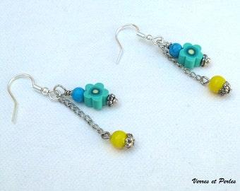 Pendants earrings flower green and yellow Pearl
