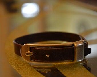 Brown Italian leather buckle bracelet