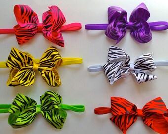 Zebra Jumbo Bow Elastic Headband