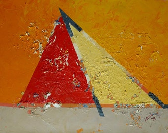 Abstract Oil Painting.18x24in; 45x60cm.Urban Pyramid.Resting in the Desert–oil on canvas; wall art; abstract art; red, orange, yellow, grey