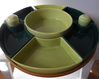 Large Sylvan Ceramics 10 piece Lime and Forest Green 1950's Lazy Susan Sarving Tray