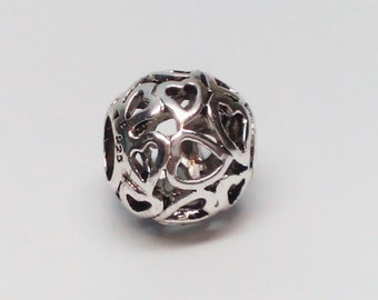 New  Authentic Sterling Silver 925 Open Hearts Love Charm bead fits all European Bracelets