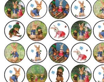 30 Assorted Peter Rabbit Premium Rice Paper Cake Toppers