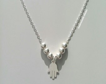 Necklace hand of Fatma - Silver 925/000 / solid silver necklace 925, small pendant protective Fatma hand - Necklace silver 925