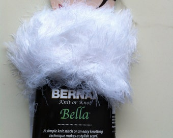 Bernat KNIT or KNOT BELLA White Eyelash Yarn / Spinrite Novelty Eyelash / Super Soft Eyelash Yarn
