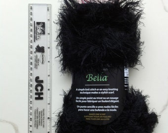 Bernat KNIT or KNOT BELLA Black Eyelash Yarn / Spinrite Novelty Eyelash / Super Soft Eyelash Yarn