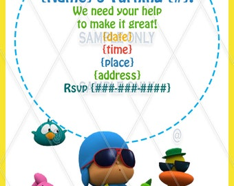 INSTANT DOWNLOAD} Pocoyo custom birthday party invitations print from home